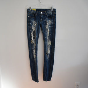 Machine Jeans Rhinestone embellished Destroyed